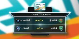 الفتح يستقبل الهلال.. والتعاون ضيفاً على الاتفاق في ختام الجولة الثامنة