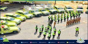 الدفاع المدني يشارك بمهام الإنقاذ بمهرة اليمن بعد تعرضها للأعصار لبان