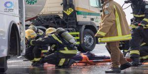 مدني رابغ ينجح في إنقاذ ٤٥ راكب على متن عربة باص